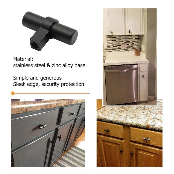 Homdiy Black Drawer Pulls and Knobs Modern T Bar Cupboard Handles Stainless Steel
