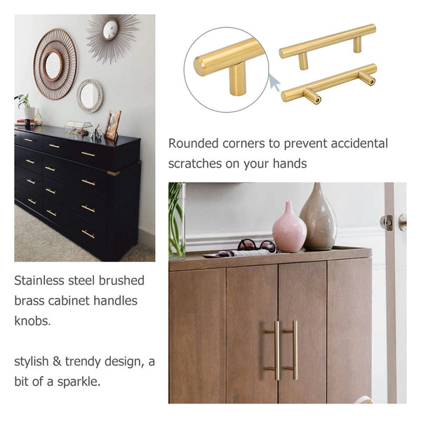 Homdiy Brass Cabinet Pulls and Knobs Black Cabinet Handles Gold Drawer Pulls Kitchen Cabinet Hardware Stainless Steel Modern