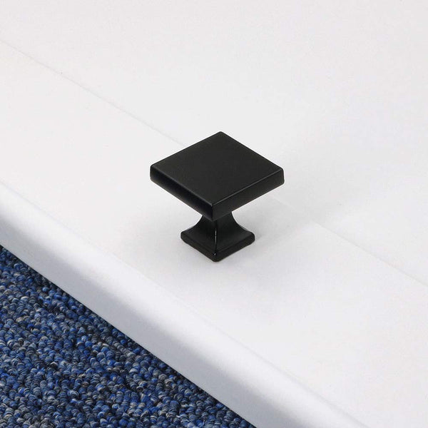 Homdiy Black Cabinet Knobs Square Drawer Knobs Modern Cupboard Knobs Kitchen Drawer Pulls Solid Metal Cabinet Hardware