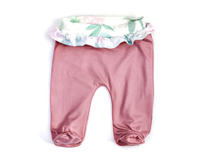 BLUSH RUFFLED FOOTIE PANTS