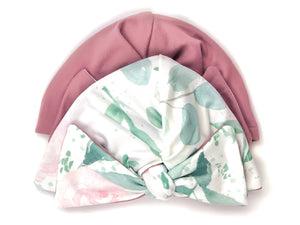 BLUSH RUCHED BEANIE WITH BOW
