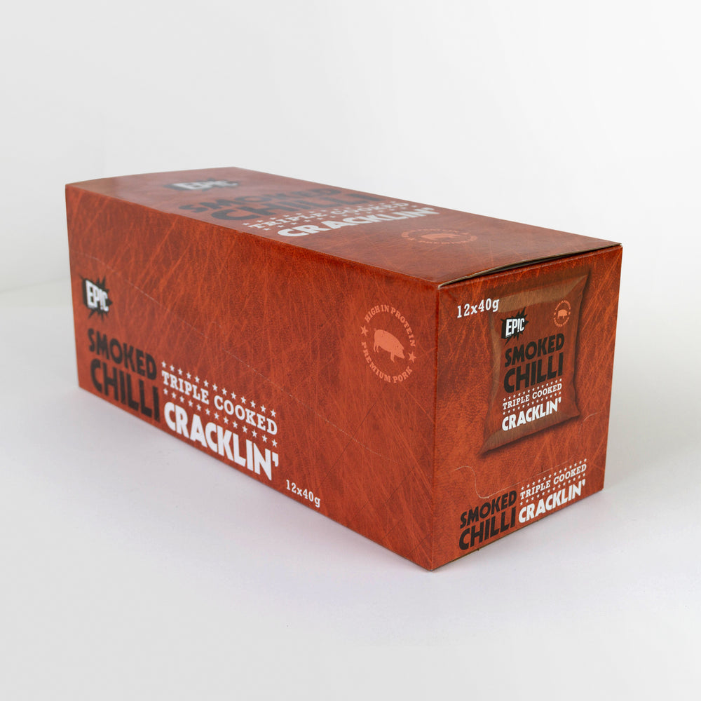 12 pack case of Epic premium quality smoked chilli triple cooked pork crackling snack