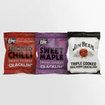 Epic Premium quality pork crackling bundle - smoked chilli triple cooked crackling, sweet maple triple cooked crackling, Jim Beam triple cooked bbq pork crackling meat snacks