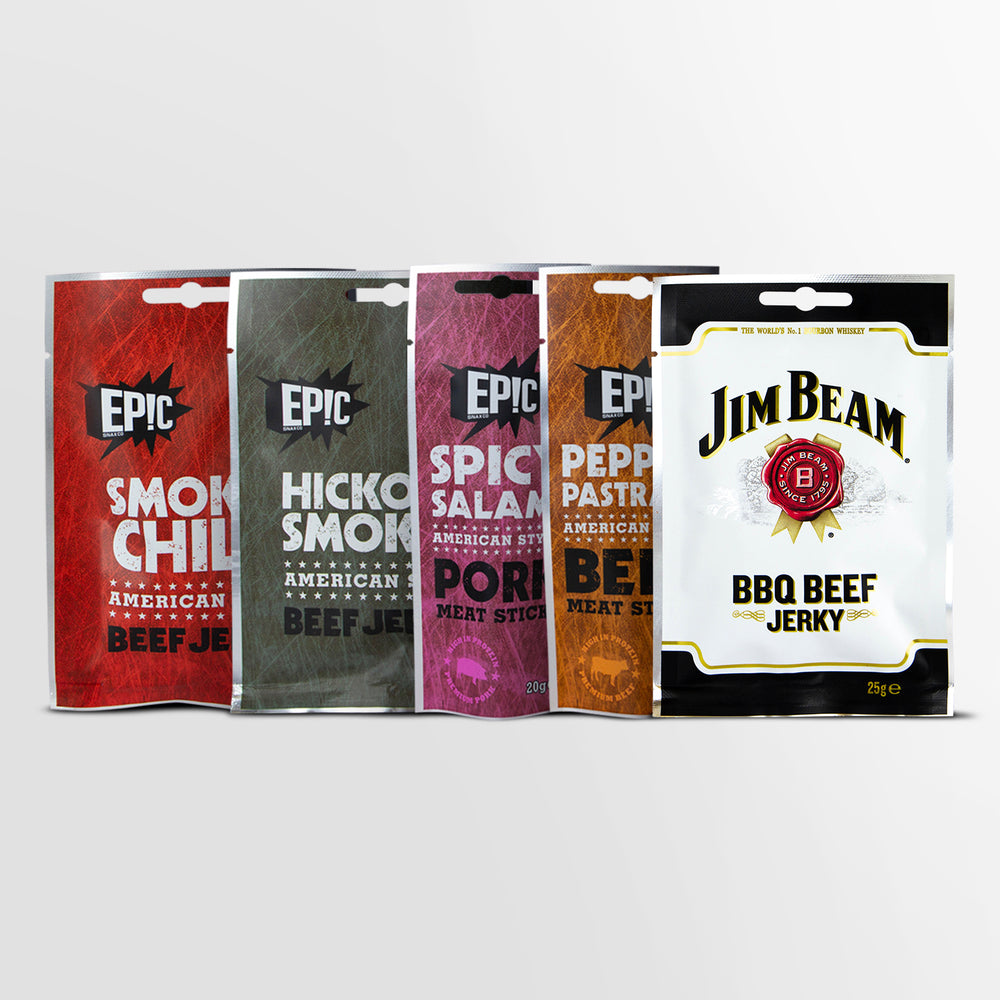 Epic All the Meat Snack Bundle - Premium Quality Smoked Chilli Beef Jerky, Hickory Smoked Beef Jerky, Spicy Salami Pork Meat Sticks, Pepper Pastrami Pork Meat Sticks and Jim Beam BBQ Beef Jerky