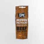 Epic protein rich premium quality pepper pastrami American style cured beef meat sticks snack