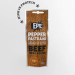 15 pack case of Epic protein rich premium quality pepper pastrami American style cured beef meat sticks snack