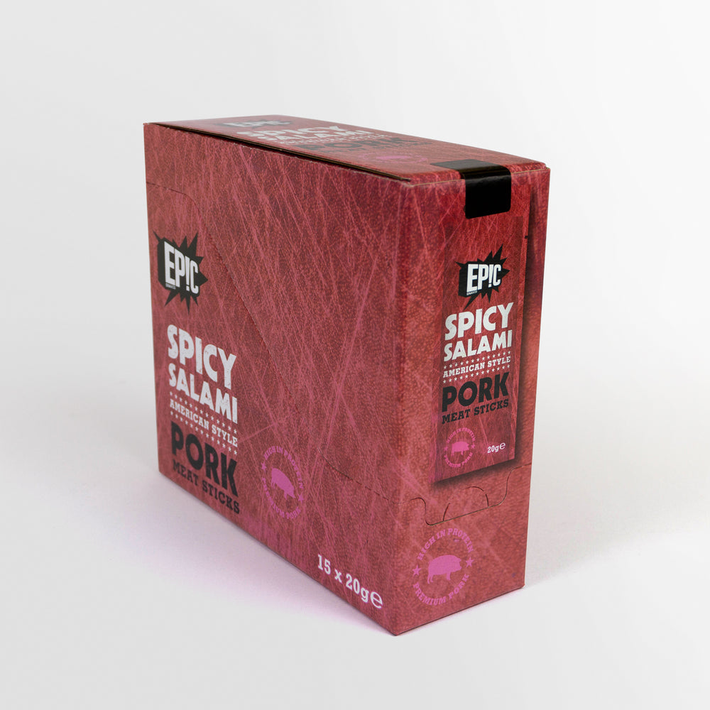 15 pack case of Epic protein rich premium quality spicy salami American style cured pork meat sticks snack