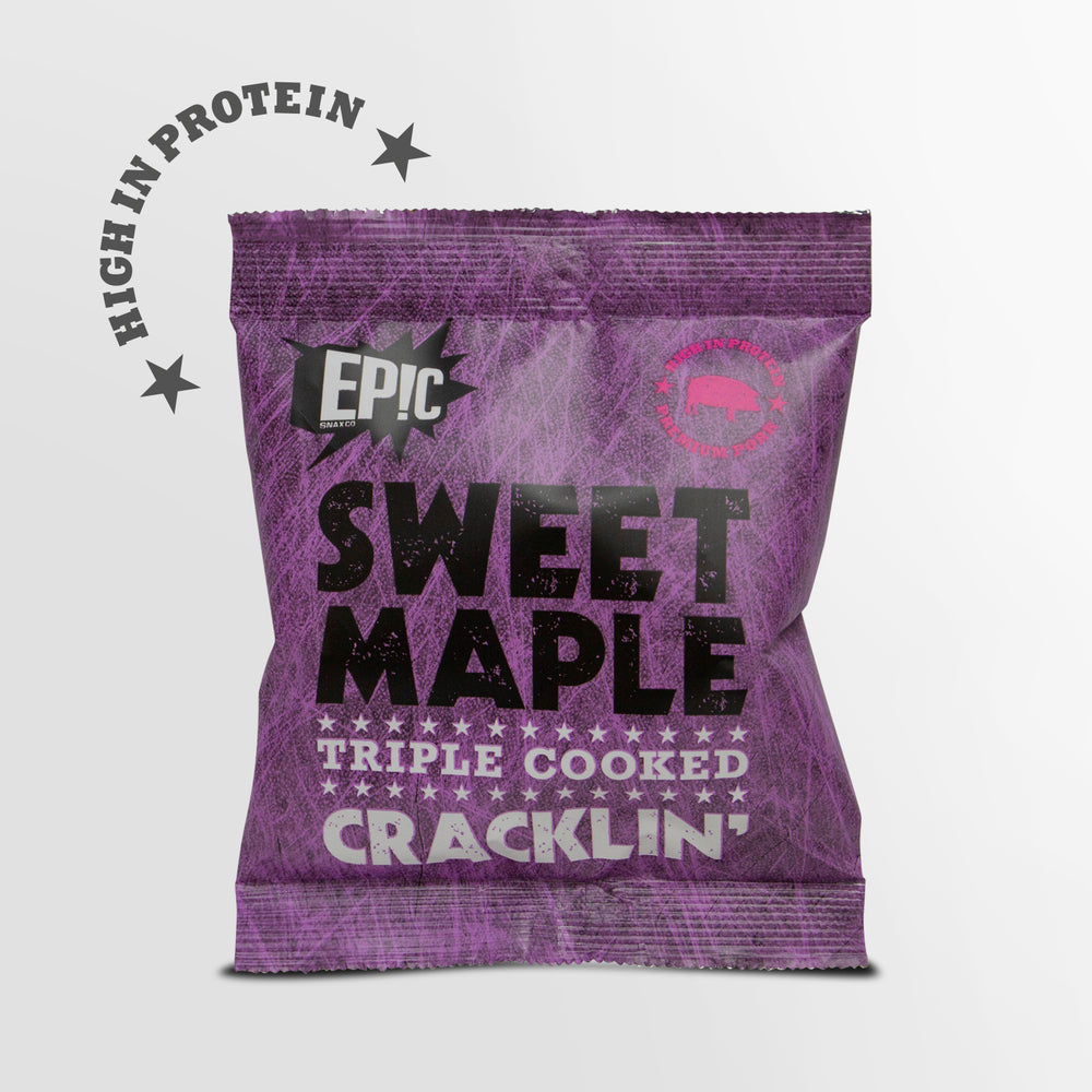 12 pack case of Epic premium quality sweet maple triple cooked pork crackling snack