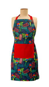 Parrots and red Bottlebrush apron by Templestowe Auxiliary