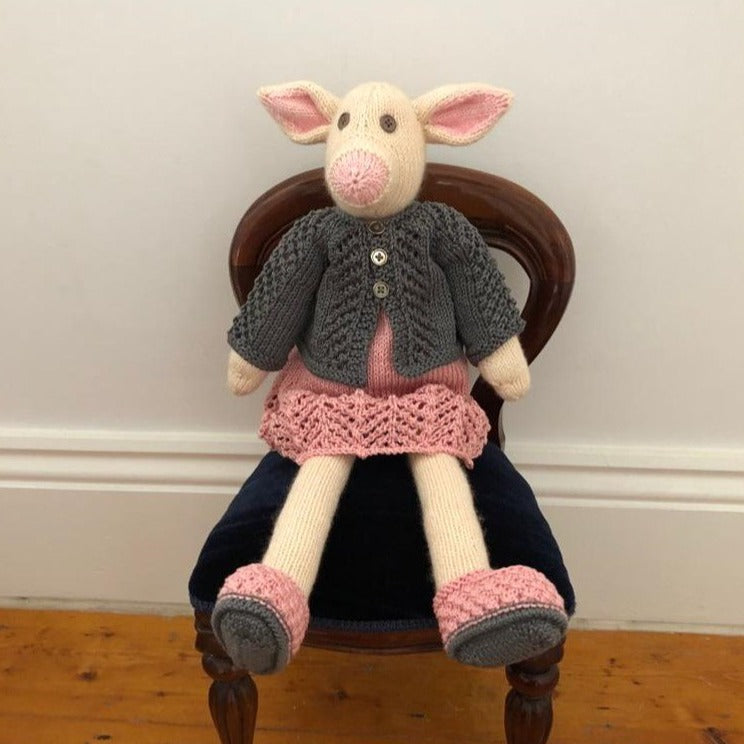 Pig with Grey and Pink clothes by Parkville Auxiliary
