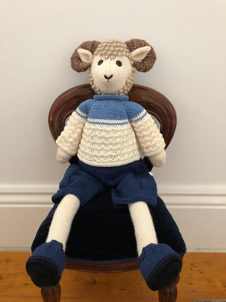 Sheep with blue and white clothes by Parkville Auxiliary