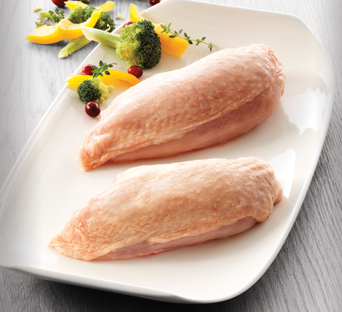 Organic chicken fillet w. skin raw
