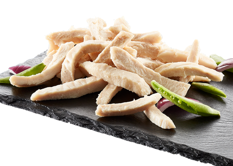 Steamed chicken fillet strips 12mm