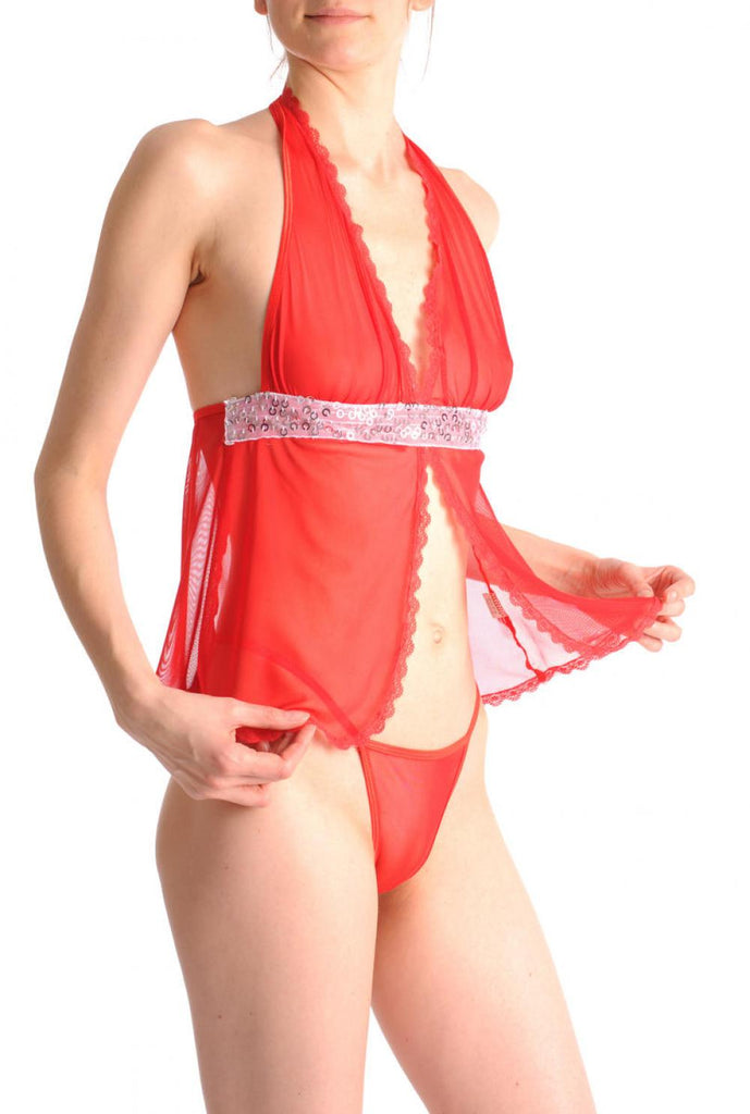 Red Sheer Babydoll With Silver Sequin & Matching Brief Set