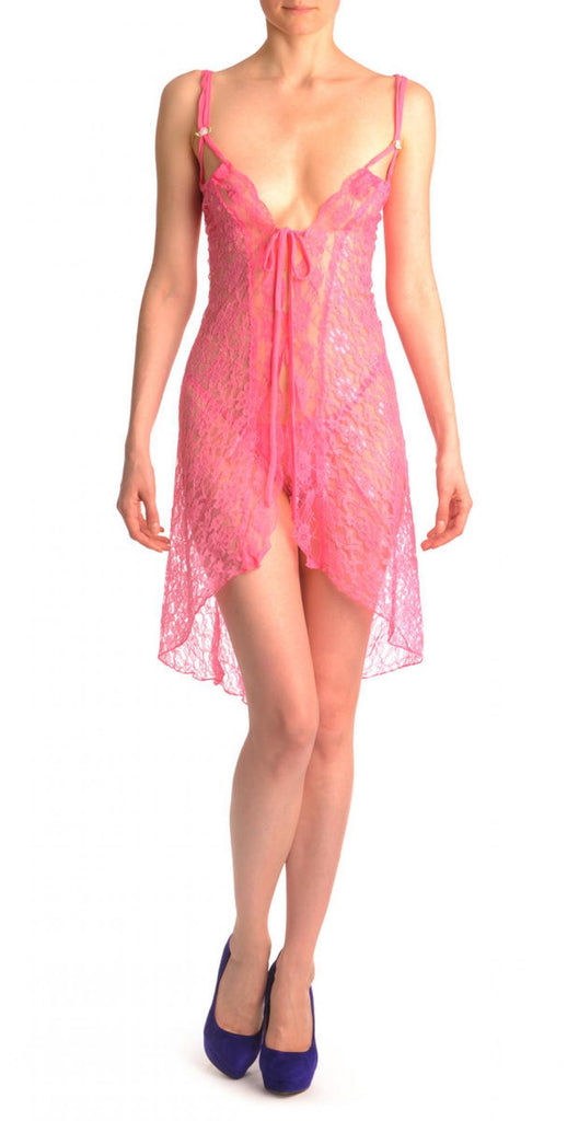 Pink Lace Knee Length Evening Dress Babydoll & Matching Brief Set