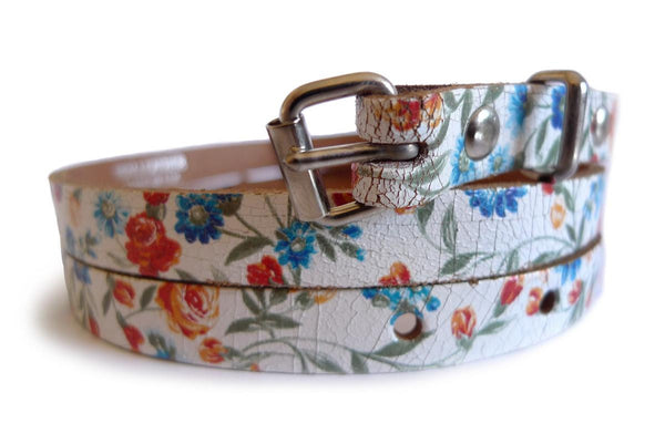 Roses On White Real Leather Rustic Look Women Belt