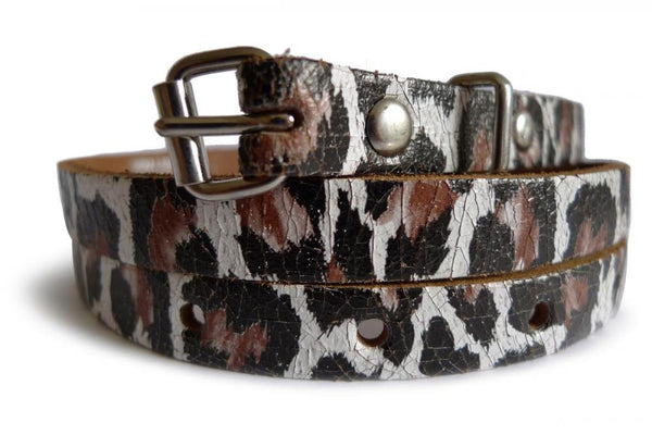 Black & White Leopard Real Leather Rustic Look Women Belt