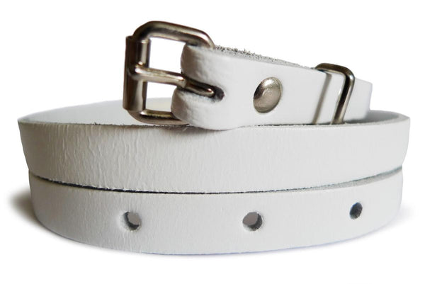 Plain White Real Leather Women Belt