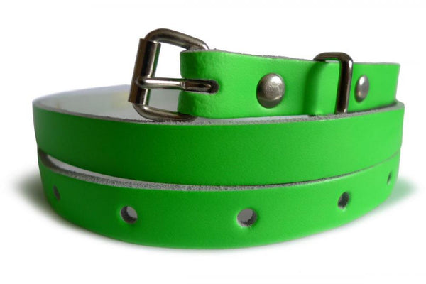 Neon Green Real Leather Women Belt