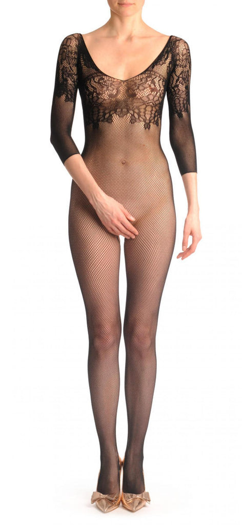 Fishnet Bodystocking With Floral Lace Top And Quarter Sleeves