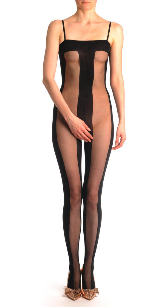 Opaque & Transparent Wide Vertical Stripes Bodystocking