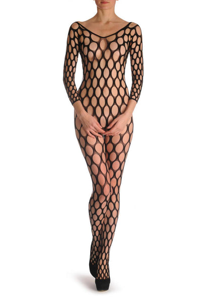 Large Mesh Holes With Quorter Sleeves Bodystocking