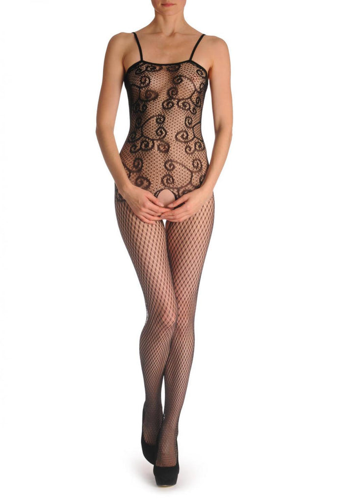 Waves On Geometrical Lace With Straps Bodystocking