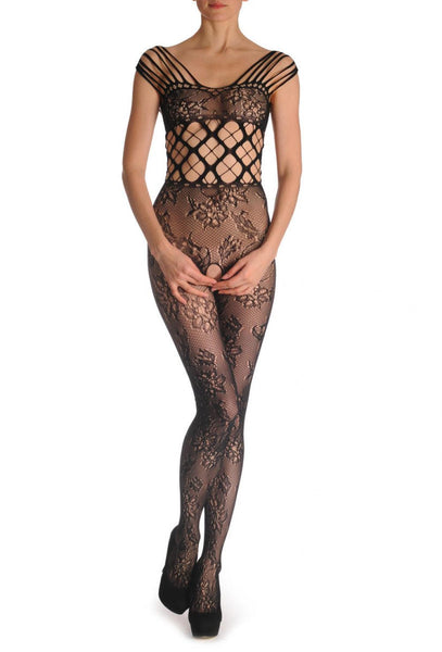 Floral Lace With Large Mesh Corset And Multy Straps