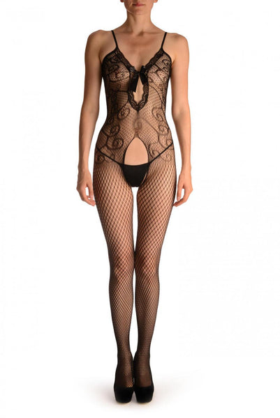 Double Net Bodystoking With Lace Trim Cut Out Front Panel & Bow