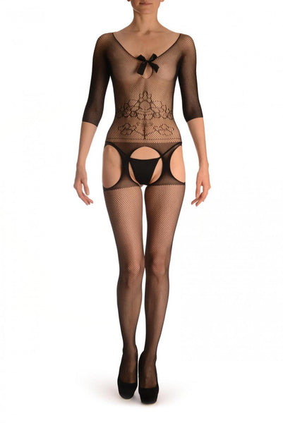 Black Suspender Bodystocking With Sleeves & Satin Bow