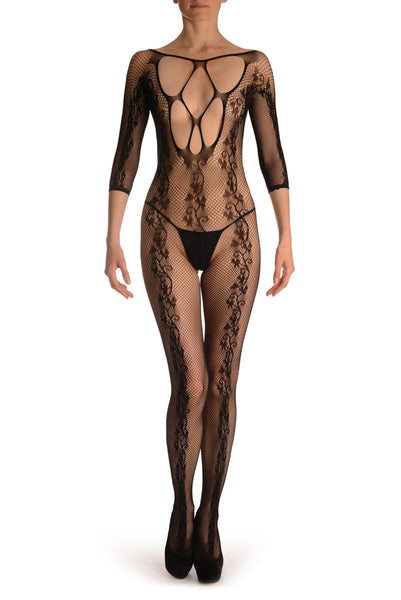 Black Bodystocking With Back Seam & Large Mesh Panels