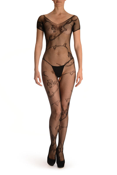 Black With Large Flowers All Over Bodystocking