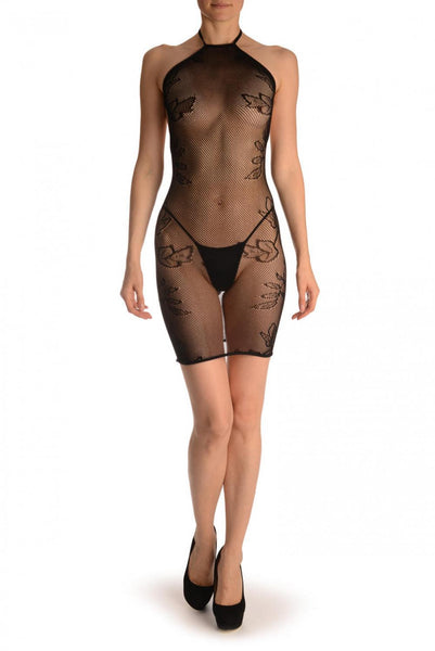 Black With Flowers Around The Neck Mini Dress (Bodystocking)