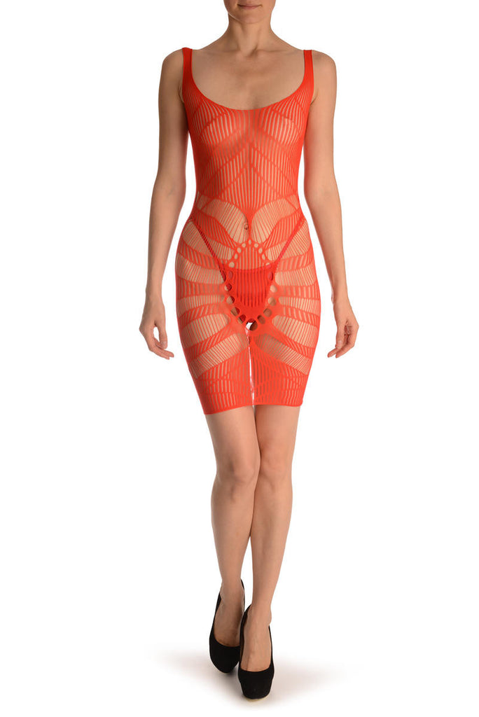 Red Geometrical Lace Shoulders Mini Dress (Bodystocking)