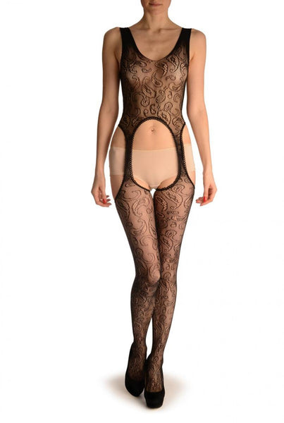 Black Paisley Lace Bodystocking
