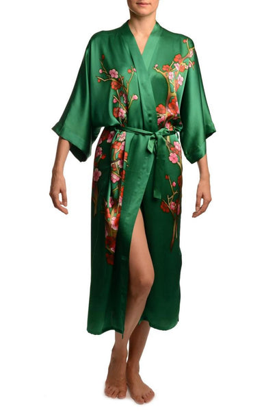 Green With Sakura Bloom Luxurious Silk Dressing Gown (Robe)