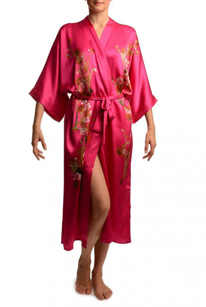 Pink With Sakura Bloom Luxurious Silk Dressing Gown (Robe)