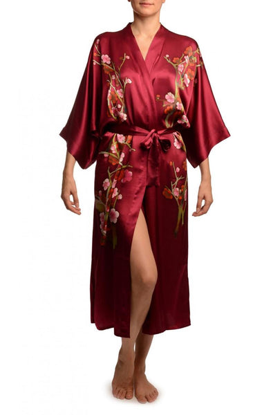 Burgundy With Sakura Bloom Luxurious Silk Dressing Gown (Robe)