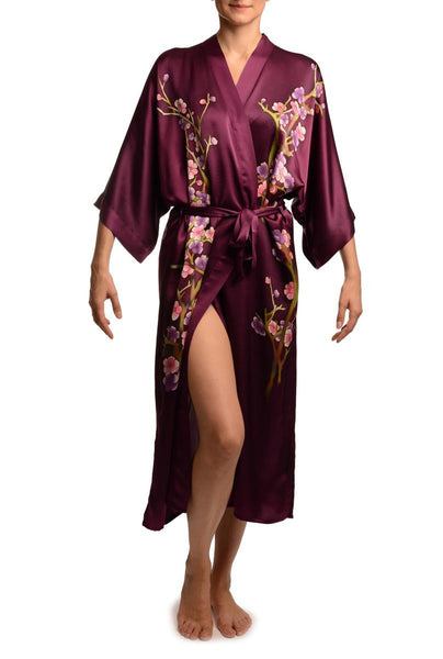 Purple With Sakura Bloom Luxurious Silk Dressing Gown (Robe)