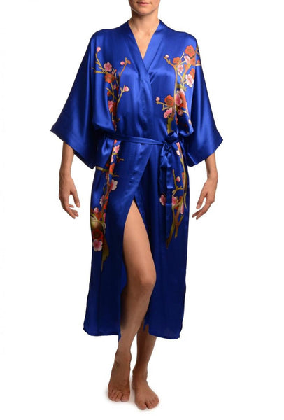 Blue With Sakura Bloom Luxurious Silk Dressing Gown (Robe)