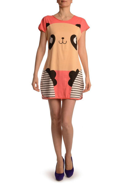 Smiling Panda On Coral Pink Lightweight Dress