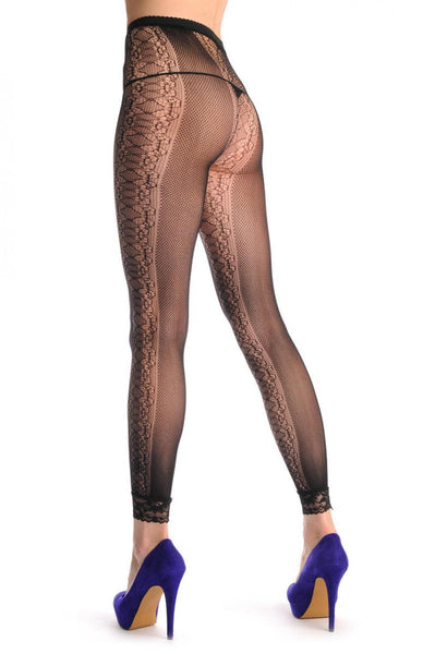 Black Fishnet With Lace Stripes On the Sides Footless