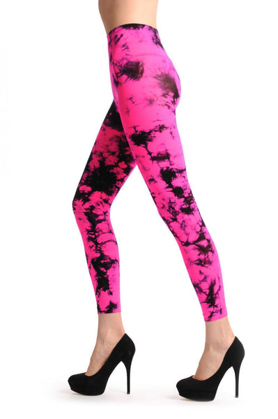 Fluorescent Pink & Black Colour Splash Footless
