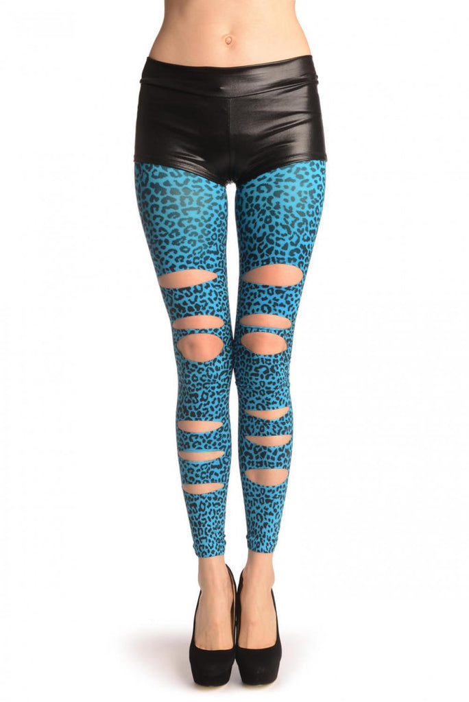 Blue Leopard Ripped Footless