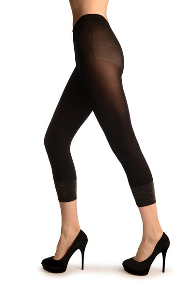 Black Cropped Tights With Silver Lurex