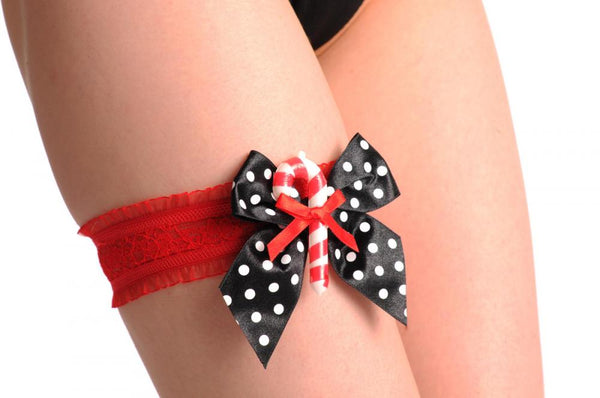 Christmas Red Garter With Black Satin Bow & Stick Candy