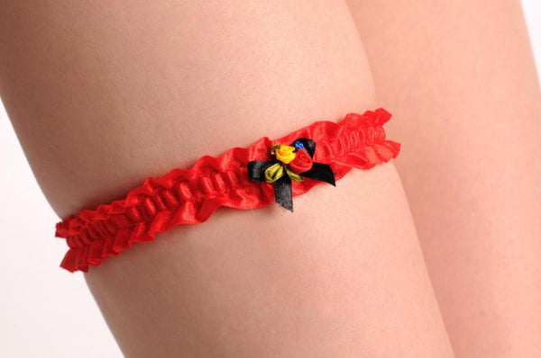 Red With Blue Red & Yellow Satin Flowers & Bow
