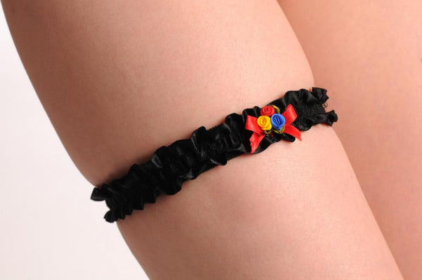 Black With Blue Red & Yellow Satin Flowers & Bow