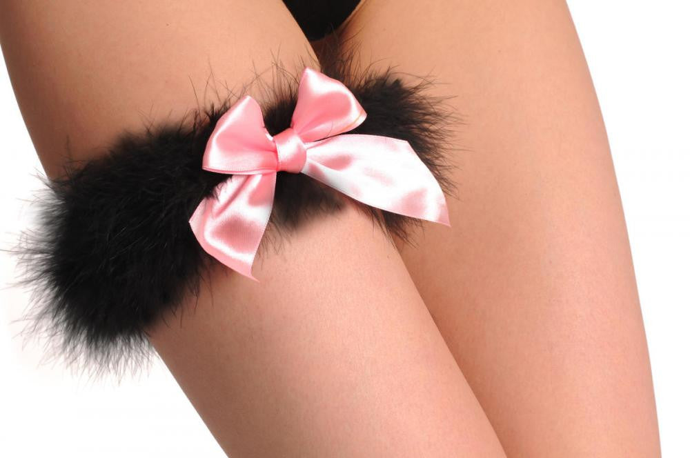 Black Marabou Feather With Pink Satin Bow