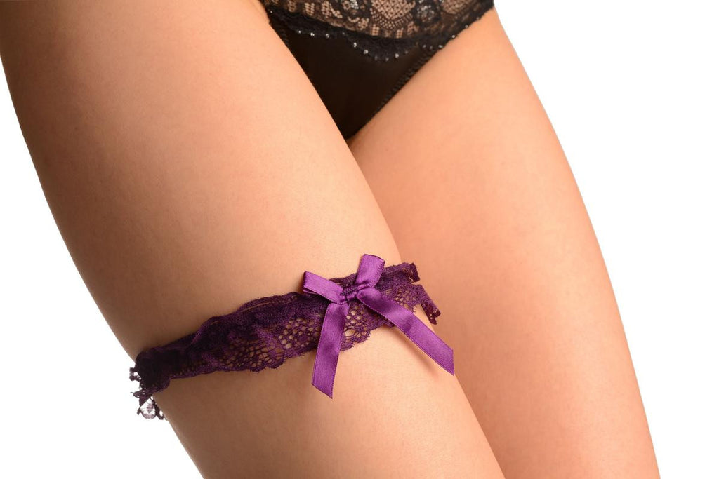 Purple Peacock Lace & Satin Bow Garter